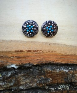 Antique Silver & Turquoise Flower Round Earrings