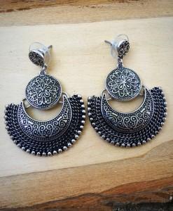 Half Moon & Floral Embossed Earrings