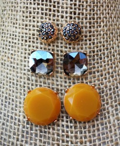 Round Mustard Stud Set Earrings