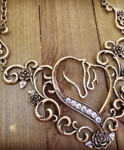 DIAMOND HORSES & HEART NECKLACE