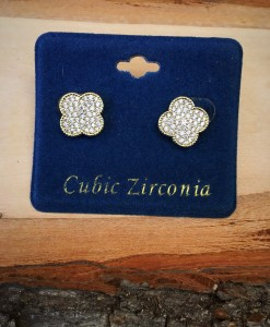CUBIC ZIRCONIA CLOVER EARRINGS