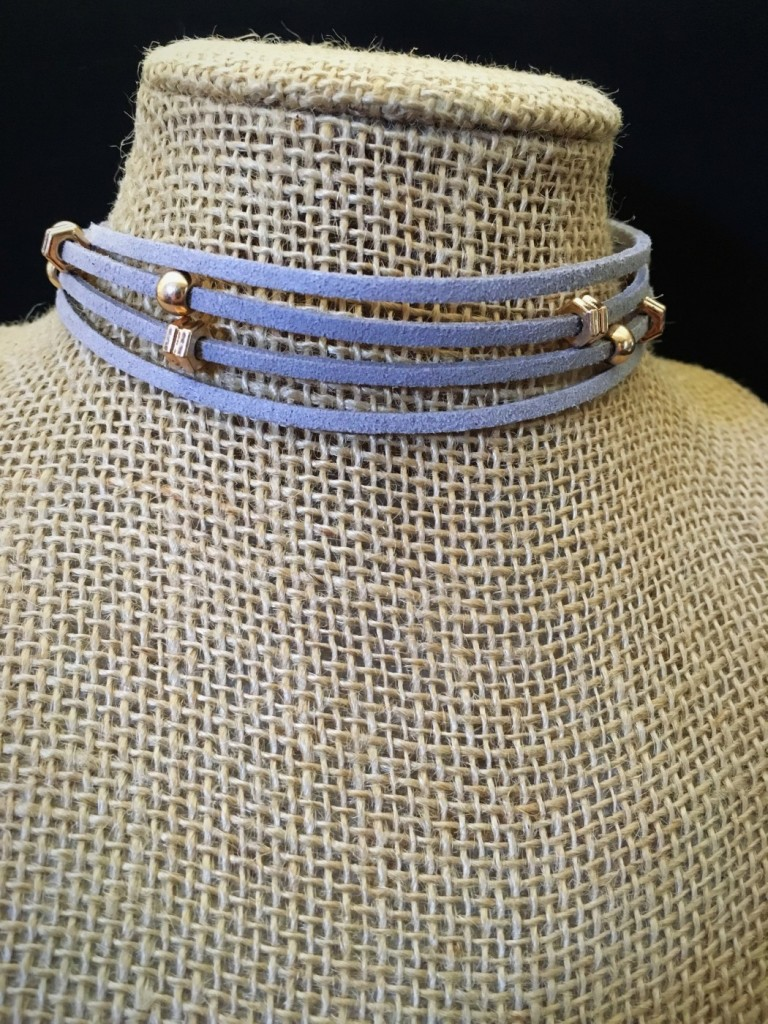 Multi Layer Gray Suede & Gold Detail Choker