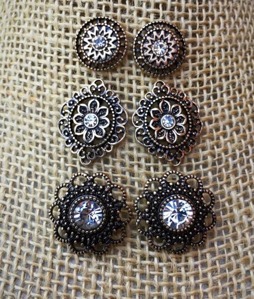 Anastasia Flower Stud Set Earrings