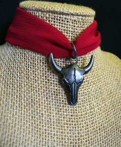 """ Bee You "" Fabric & Charcoal Bull Skull Choker"