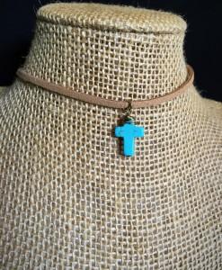 Thin Leather & Turquoise Cross Charm Choker