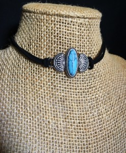 """ Coco ' Antique Silver & Turquoise Oval Stone Choker"