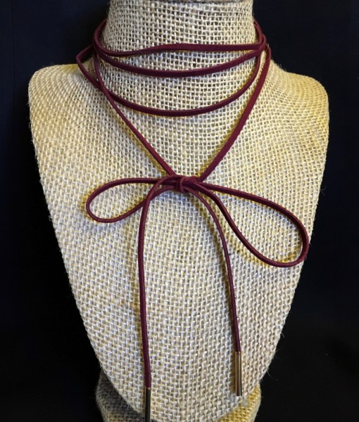 """ Crazy  Bow Wrap "" Faux Suede Choker ( Burgundy )"