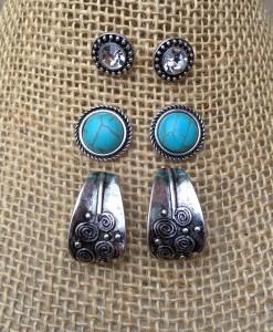 Curvy Turquoise Stud Set Earrings