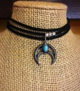 Layered Suede & Turquoise Half Moon Choker