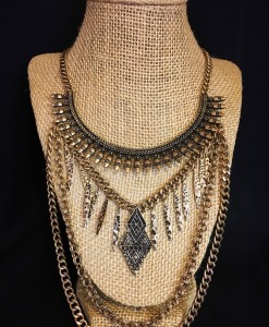 LAYERED CHAIN & FRINGE NECKLACE
