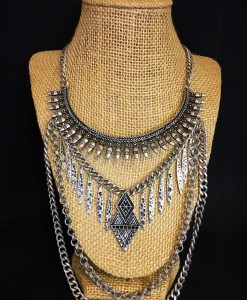 CASSY LAYERED CHAIN & FRINGE NECKLACE