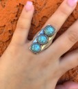 Triple Turquoise Stone Stretch Ring