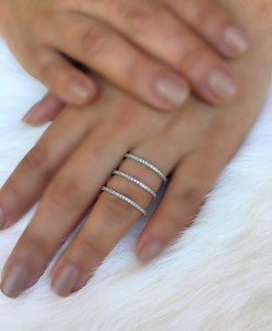Triple Bar Ring ( Silver Color )