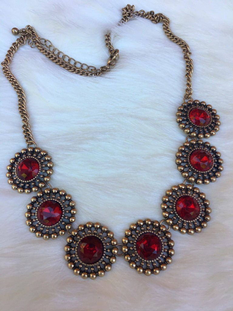 Multi Circle Crystal Necklace ( Red )