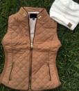 Camel shearling vest