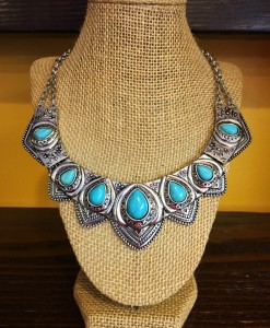 """ Celeste "" Turquoise & Silver Necklace"