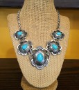 """ Regina "" Turquoise & Silver Necklace Set"