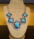 """ Regina "" Turquoise & Silver Necklace Set"