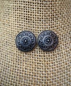 coin flower embossed earrings