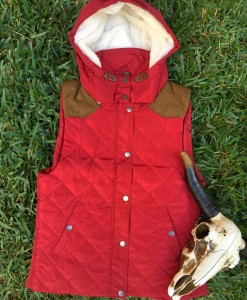 quilted vest ( red )