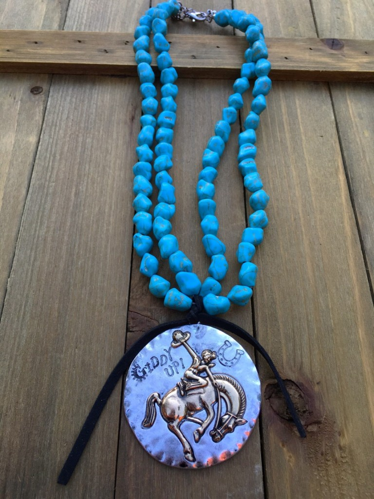 Giddy Up Bucking Bronco Pendant Necklace