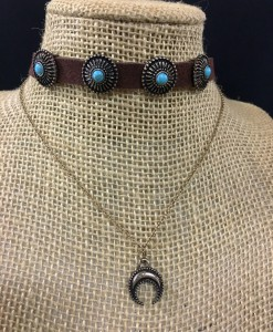 Turquoise Concho & Layered Squash Blossom Choker