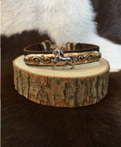 Brown Leather & Horse Plaque Bracelet