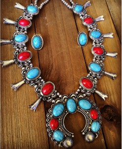 """ Desert "" Turquoise & Red Squash Blossom Necklace Set"