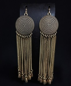 Round Coin & Chain Fringe Earrings ( Gold )