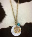 Horseshoe / Turquoise / Pearl Charm Necklace