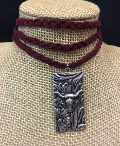 Burgundy Braided & Silver Longhorn Concho Choker
