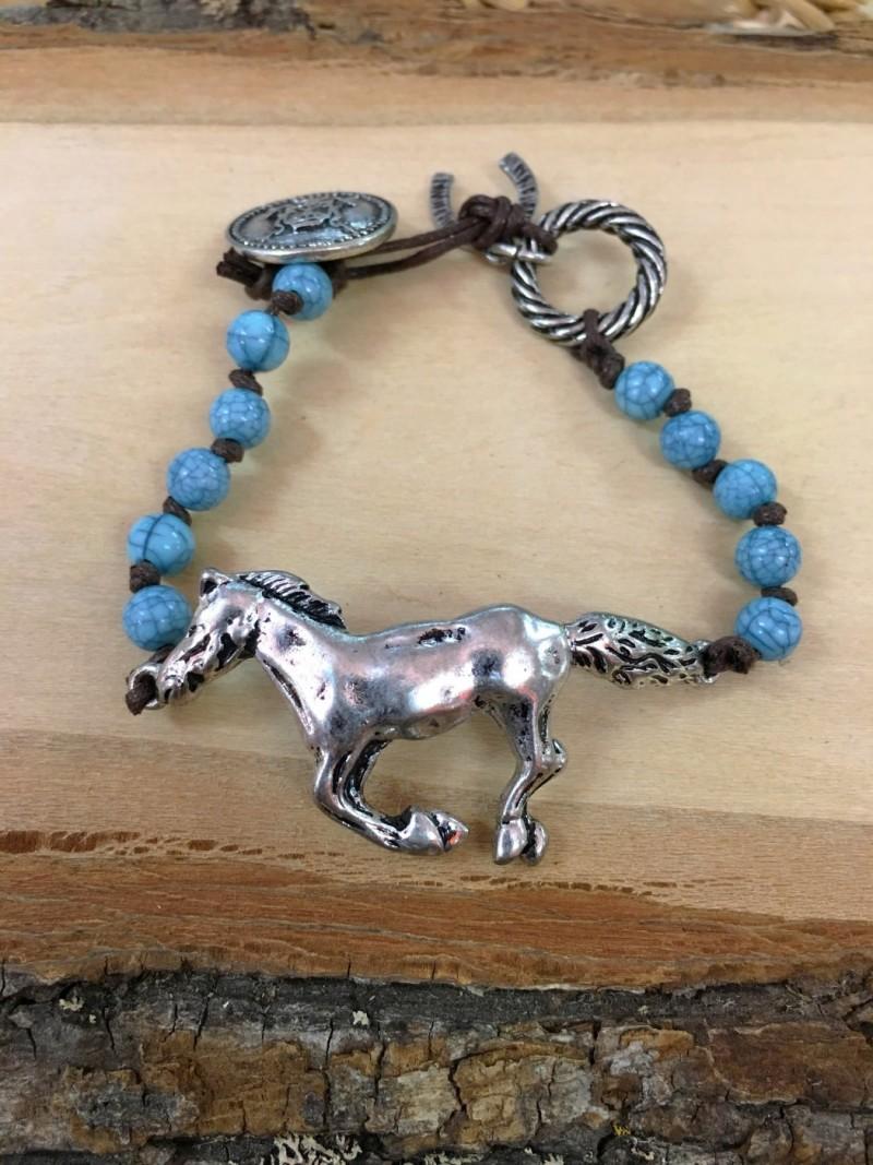 Horse Horseshoe Charm Bracelet Brown Turquoise