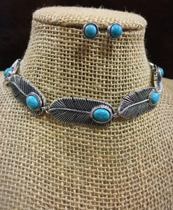 """ Feather "" Antique Silver & Turquoise Choker Set"