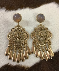 """ India "" Cut Out Detail Earrings ( Antique Gold )"