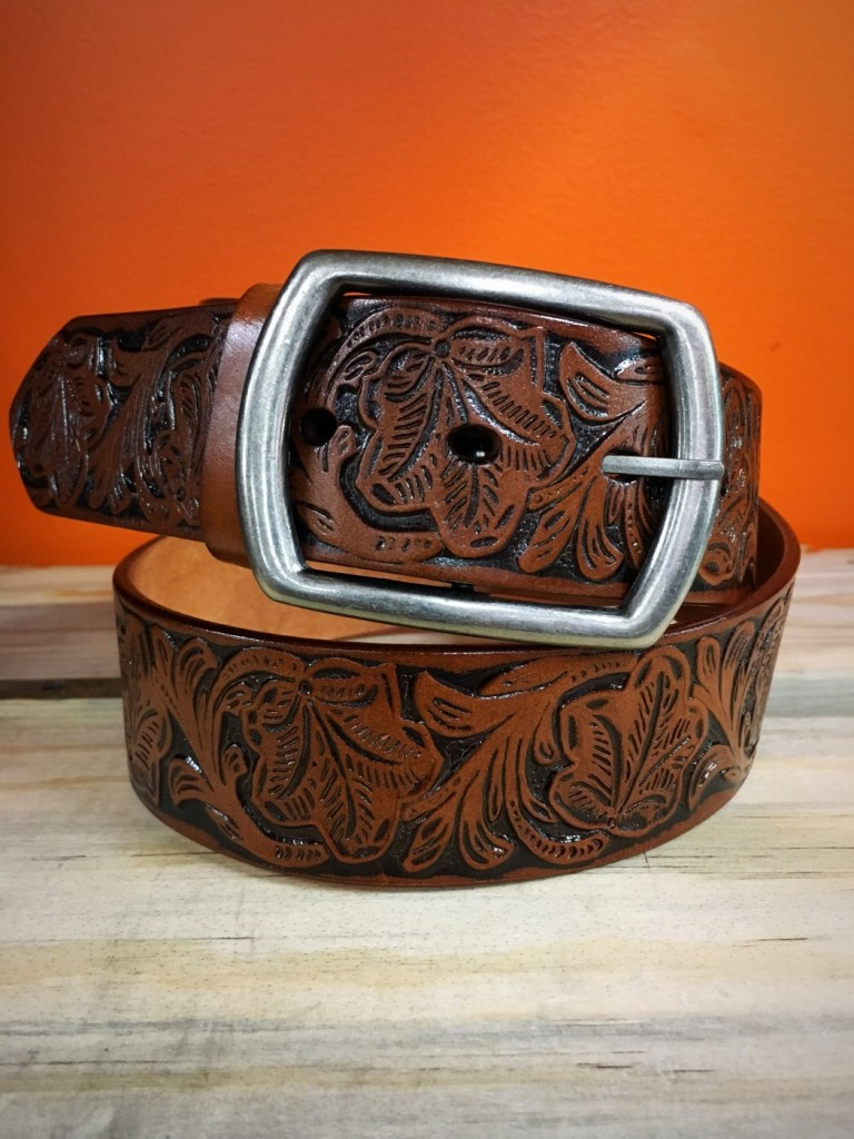 FLORAL TOOLED BELT