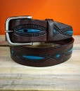 """ Diamond "" Turquoise & Chocolate Brown Leather Belt"