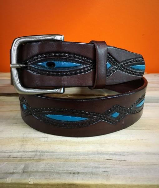 """ Diamond "" Turquoise & Chocolate Brown Leather Belt"