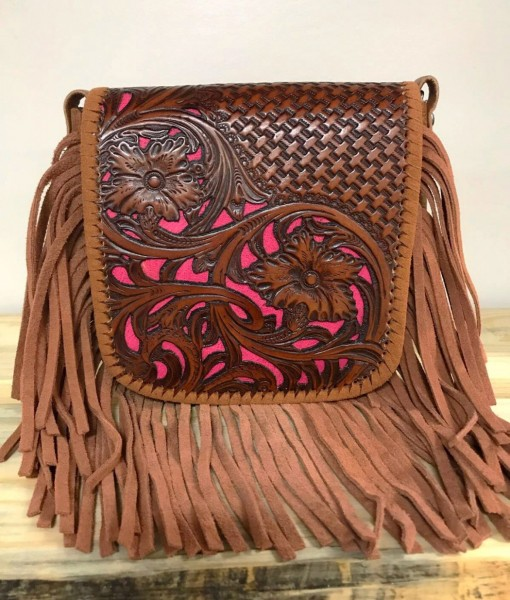 Montana West 100% Leather & Fringe Tooled Crossbody ( Hot Pink / Brown )