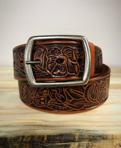 Floral Tooled Black & Honey Belt