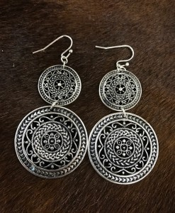 Circle Cut Out Earrings ( Silver )