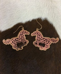 ROSE GOLD HORSE CUT OUT EARRINGS