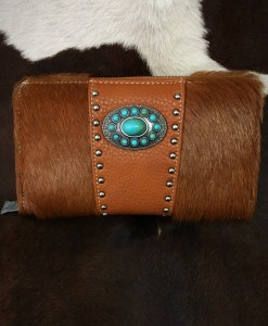TRINITY RANCH TURQUOISE & COWHIDE WALLET