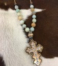 Natural  Beads & Cross Pendant Necklace