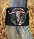 Navajo Bull Skull Leather Bracelet ( Black )