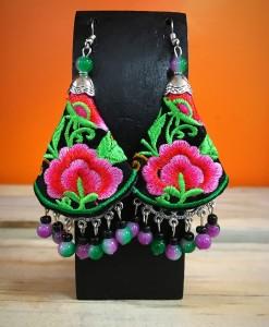 Floral Fabric & Bead Earrings