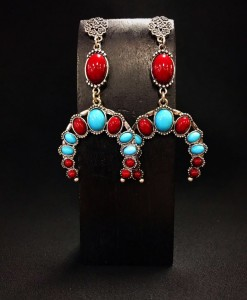 Turquoise & Red Squash Earrings