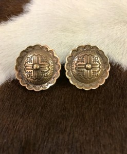 Round Embossed Clip On Earrings ( gold)