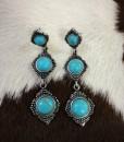 Triple Stone Drop Earrings ( Turquoise )