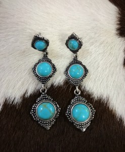 Triple Stone Drop Earrings ( Turquoise )
