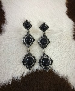 """ Anabel "" Triple Stone Earrings ( Black )"